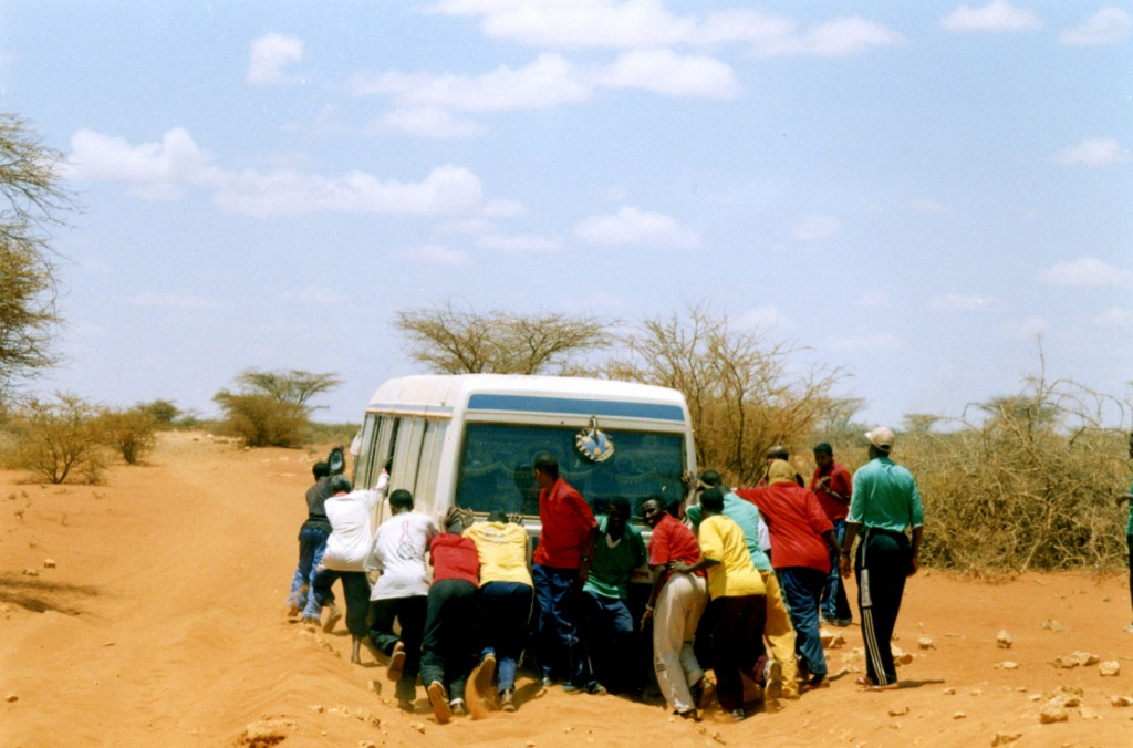 In most countries training involves the weight room and practice games, for the Elman Squad it involved pushing the bus when it got stuck in the sand.